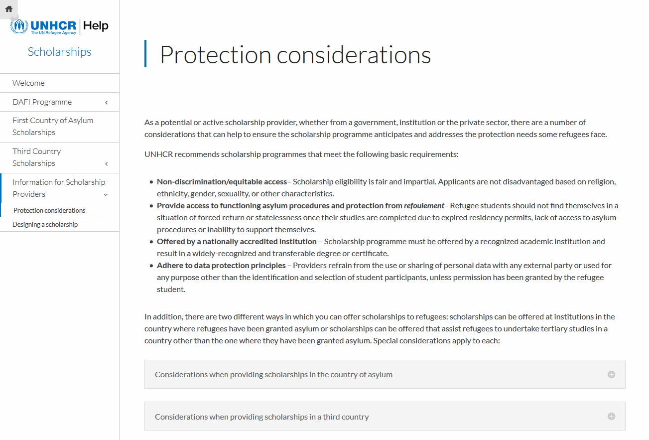 Protection considerations (UNHCR)
